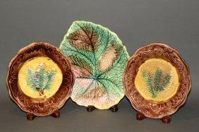 3 Majolica Leaf Plates