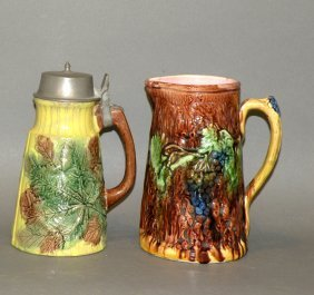 Majolica Syrup Dispenser & Pitcher