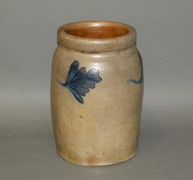 Remmy Style Cobalt Decorated Stoneware Jar