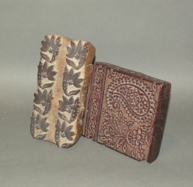 2 Carved Wooden Textile Stamps