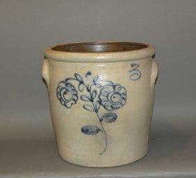 3 Gallon Cobalt Decorated Stoneware Crock