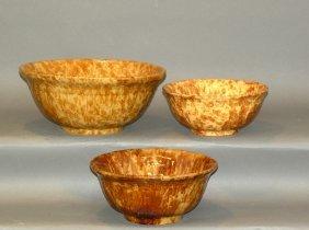 3 Rockingham Glaze Bowls
