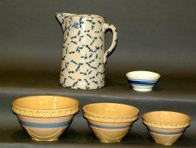 Cobalt Decorated Pitcher & 4 Pottery Bowls