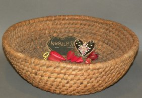 Rye Straw Basket & Assorted Pin Cushions