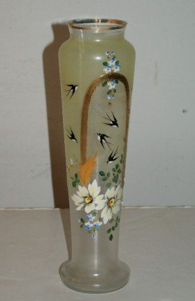 Bristol Glass And Enamel Vase. H: 14""