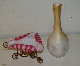 Two Satin Glass Pieces; A Vase And A Bowl On Metal S