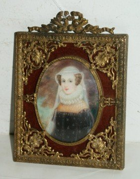 Antique French Portrait Miniature On Ivory, Unsigne