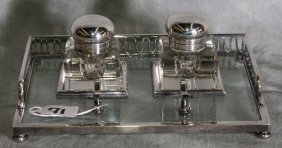 Edwardian Silverplate And Crystal Inkwell. L:10""