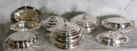 Lot Of Seven Silver Plate Covered Warming Plates An