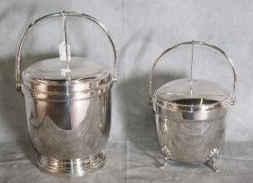 Two Silver Plate Covered Wine Buckets. Largest H:15