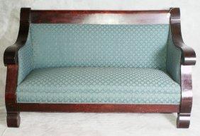 "Period Flame Mahogany Empire Sofa. H:35.5' W:59.5"""