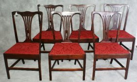 Set Of Six Chippendale Style Dining Chairs. H:38.5""