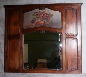 19th C Trumeau Mirror With A Still Life Of Flowers