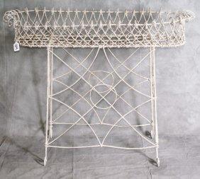 """Antique White Iron/wire Planter. H:29.5"""" L: 37"""""""