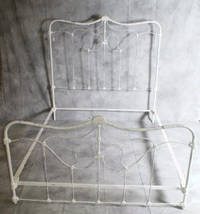 Antique White Painted Iron Queen Size Bed. H: 58.5