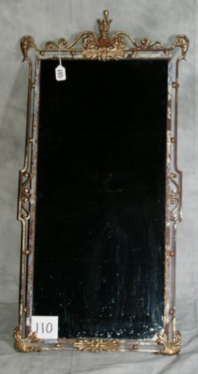 "Antique French Iron Mirror. H: 41"" W: 20"""