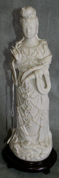 Chinese 19th C Blanc De Chine Porcelain Figure. H: