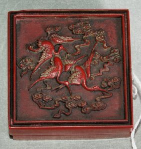 Chinese Red Scholars Bor With A Carved Top And Ins