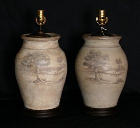 Pair Antiqu Handpainted Pottery Lamps On Wood Bases. H