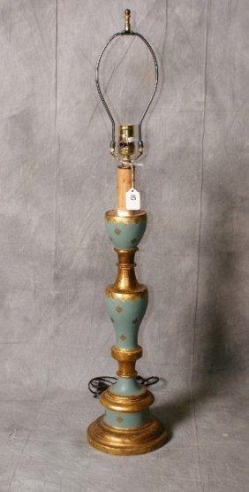 "Italian Painted Wood Table Lamp. H:36"""
