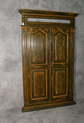 French Colonial Painted Wood Double Door Cabinet Front