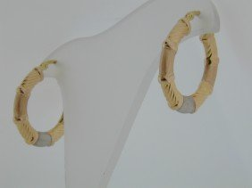 Tri Tone GOLD Bar Hoop Earrings