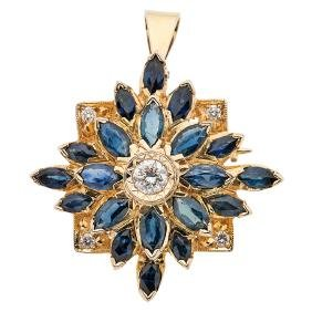 A 14k Yellow Gold Pendant / Brooch With 20 Marquise Cut