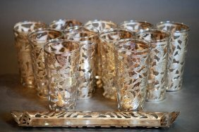 Lot Of 11 Mexican S.s. & Glass Tumblers & A Tray