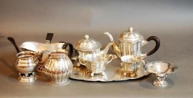 9 Pc Lot Danish Vintage/modern Style Pewter & S.p.