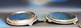 Lot Of 2 S.p. Mirrored Top Plateaus