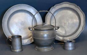 Lot Of 5 Pcs Continental Pewter Tableware