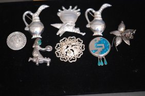 Lot Of 8 Vintage & Retro Mexican Sterling Pins