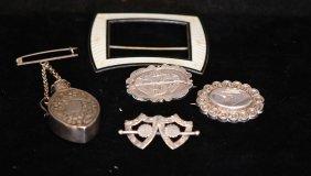 Lot Of 5 English S.s. Hallmarked Pins