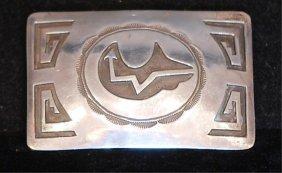 Navajo Signed Native Amer. Indian S.s. Belt Buckle