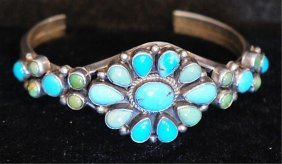 Native Amer. Indian S.s. & Turquoise Cuff Bracelet