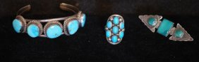 3 Pc Lot Of Native American Indian S.s. Jewelry
