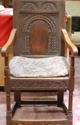Antique English Oak Arm Chair