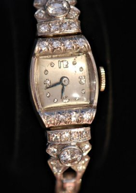 Vintage Platinum & Diamond Ladies Watch