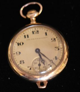Antique Caldwell 14k Open Face Ladies Pocket Watch