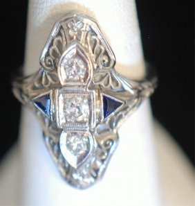 Vintage Art Deco Style 18k Ladies Ring