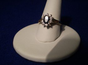 10K Gold Sapphire Diamon Ring