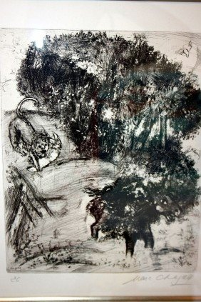 Chagall Etching - Hand Signed -Fables Of La Fontaine