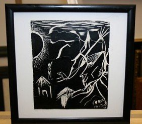 "Original By TOVA GALGUT - ""Africa"" Black Scratch Pa"