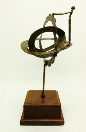 Bronze Gyroscope W/ Nude Woman Sculpture
