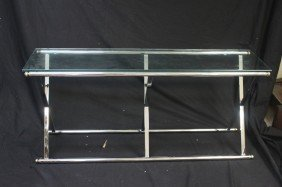 Chrome And Glass Console Or Sofa Table