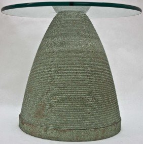 Flute Glass And Corrugated Paper End Table