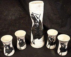 Modernistic 5 Pc. Ceramic Spanish Wine Set