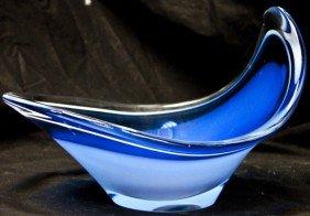 Blue And White Swedish Art Glass