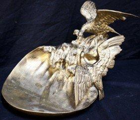 19c Loys Potet French Bronze Cormorants Sculpture