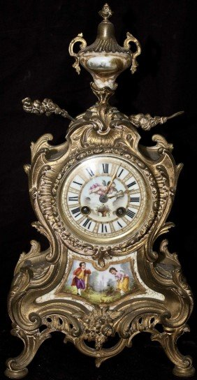 19c French Porcelain Mounted Bronze Clock